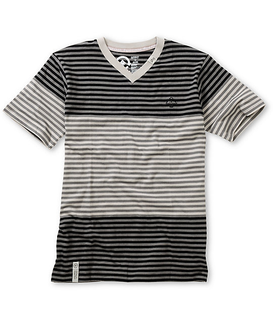 LRG Boys Multi Color Black & Charcoal Striped V-Neck T-Shirt