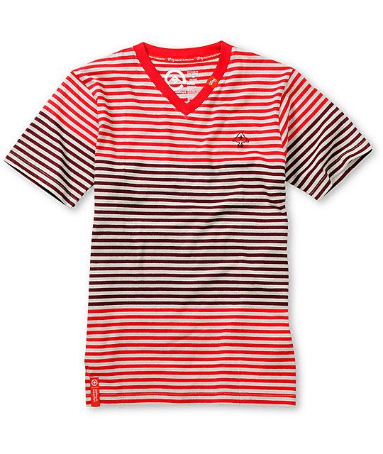 LRG Boys Multi Color Red & Grey Striped V-Neck T-Shirt