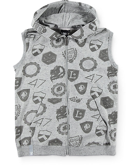 LRG Boys Random Shields Sleeveless Zip Up Hoodie