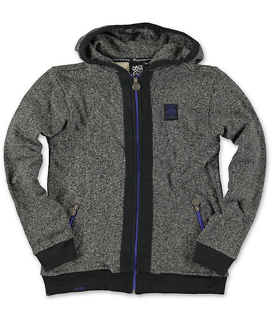 LRG Boys Tek Charcoal Zip Up Hoodie