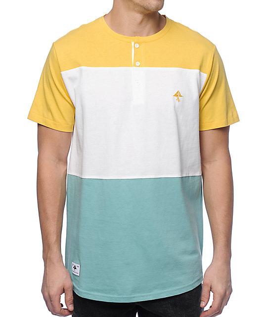 LRG Brighten Yellow, White & Blue Henley T-Shirt