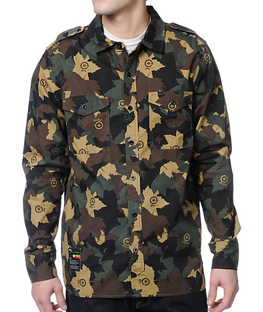 Lrg Bushman Camo Long Sleeve Button Up Shirt At Zumiez Pdp
