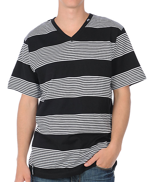 LRG CC Black Striped V-Neck T-Shirt