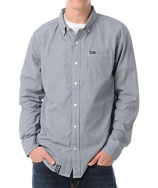 LRG CC Check Black Woven Button Up Shirt