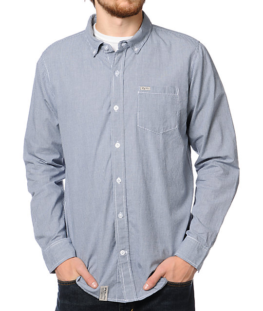 LRG CC Check Navy Woven Button Up Shirt