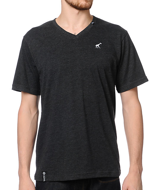 LRG CC Solid Charcoal Grey V-Neck T-Shirt