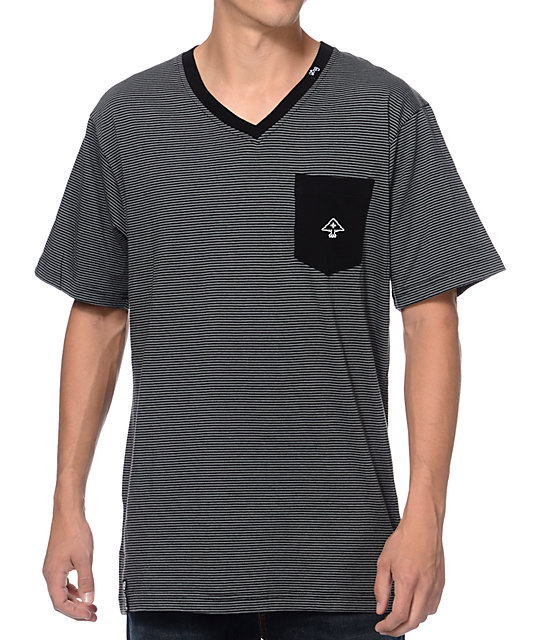 LRG CC Striped Black & Charcoal V-Neck Pocket T-Shirt