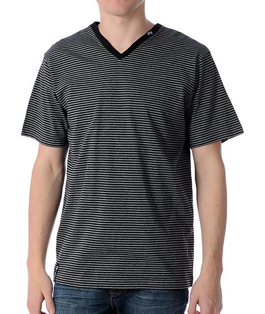 LRG CC Striped Black V-Neck T-Shirt
