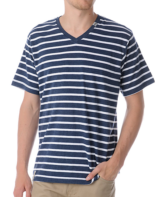 LRG CC Striped Heather Blue & White V-Neck T-Shirt