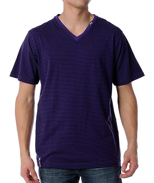 LRG CC Striped Purple V-Neck T-Shirt
