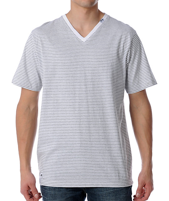 LRG CC Striped White V-Neck T-Shirt