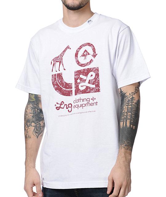 LRG CC Two White & Maroon T-Shirt