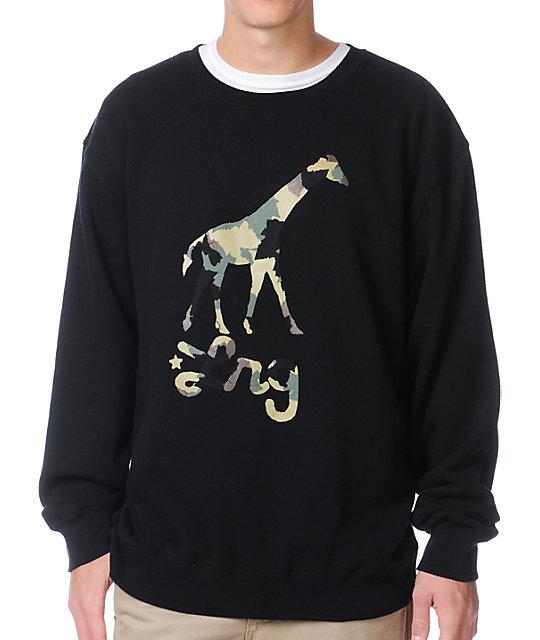 LRG Camo Giraffe Black Crew Neck Sweatshirt