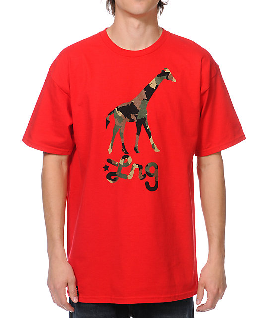 LRG Camo Giraffe Red T-Shirt
