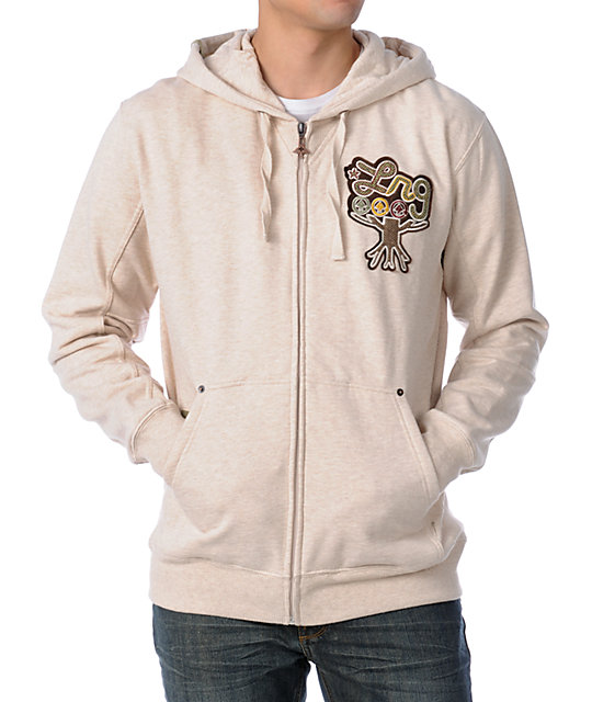 LRG Cannabis Kids 101 Natural Zippered Zip Up Hoodie