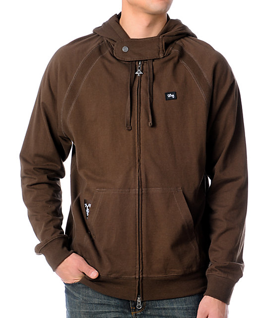 LRG Core Collection Layering Zip Brown Zip Up Hoodie at Zumiez : PDP
