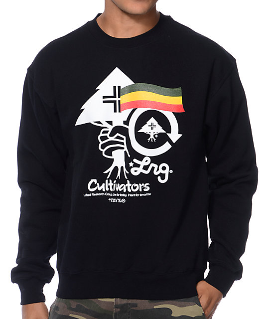 LRG Cultivators Black & Rasta Crew Neck Sweatshirt