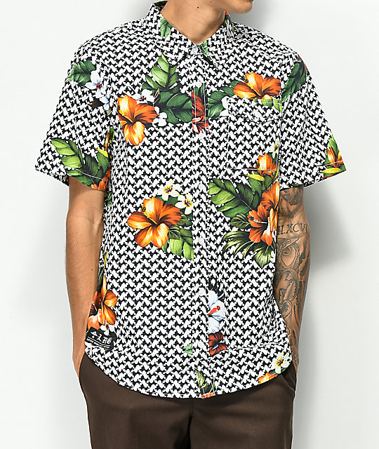 Lrg Descendent Black &Amp; White Short Sleeve Button Up Shirt by Lrg