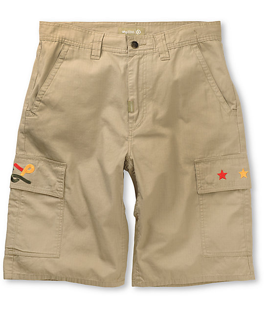 LRG Embroidered Khaki Cargo Shorts