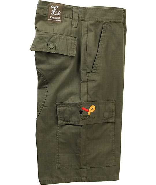 LRG Embroidered Olive Green Cargo Shorts