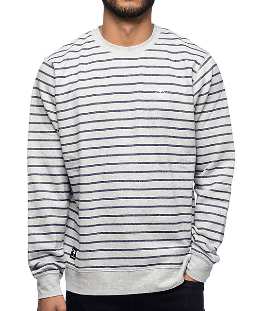 LRG Fairway Ash Heather Stripe Crew Neck Sweatshirt