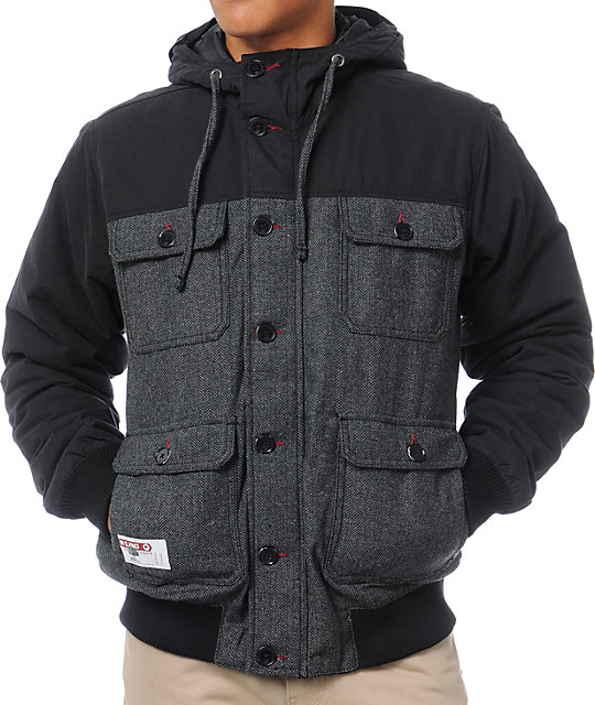 LRG Fathers Of Nature Black Herringbone Hooded Military Jacket