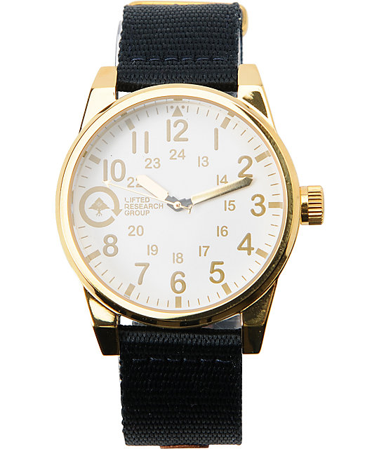 LRG Field & Research Gold, White & Black Analog Watch