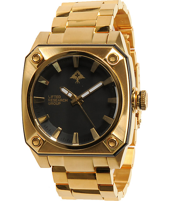 LRG Gauge Gold & Black Analog Watch