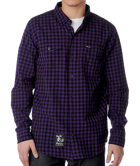 LRG Grass Roots Purple Woven Shirt