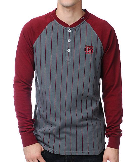 LRG Hard Slide Maroon Long Sleeve Henley Baseball T-Shirt