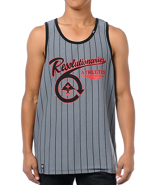 LRG Hard To Tell Charcoal Grey Striped Tank Top