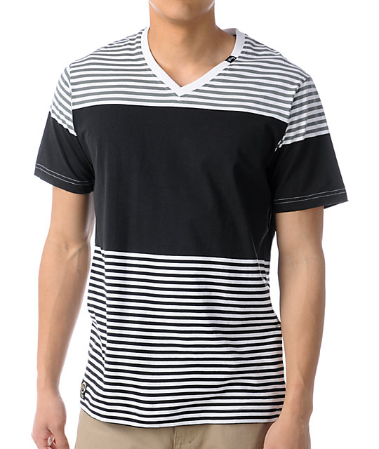 LRG Hit And Run Striped Black V-Neck T-Shirt
