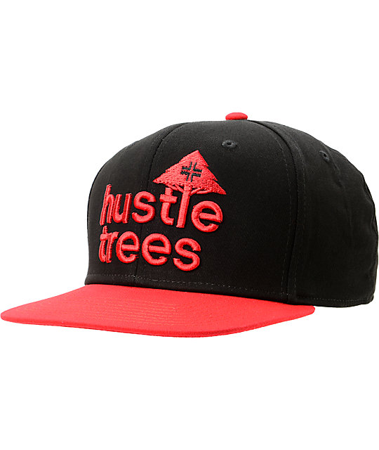 LRG Hustle Trees Black & Red Snapback Hat