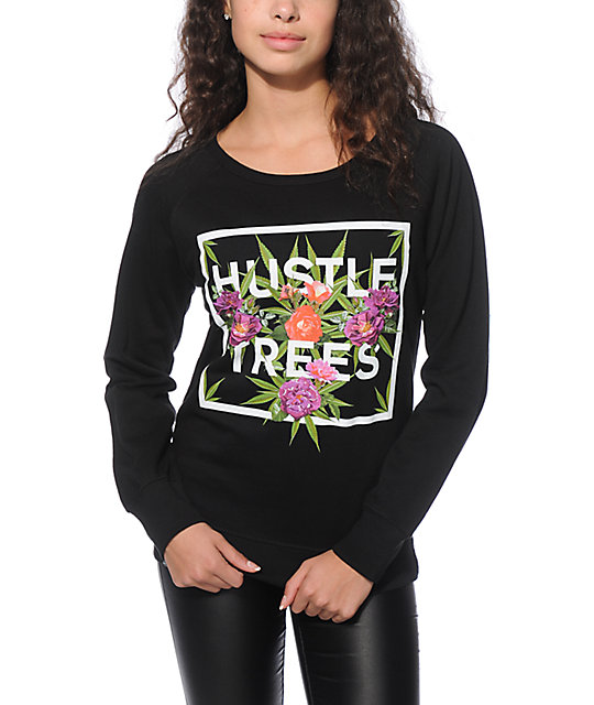 LRG Hustle Trees Black Crew Neck Sweatshirt