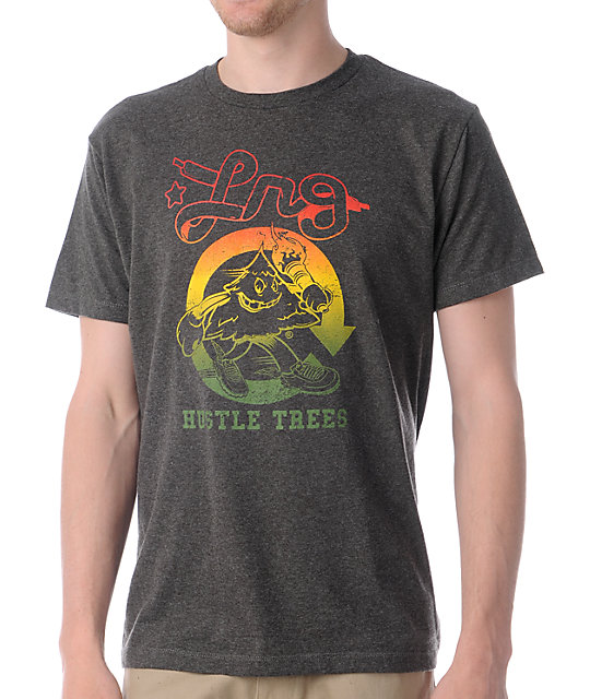 LRG Hustle Trees Charcoal & Rasta T-Shirt