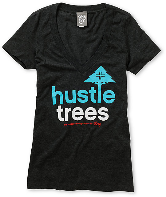LRG Hustle Trees Charcoal Grey V-Neck T-Shirt