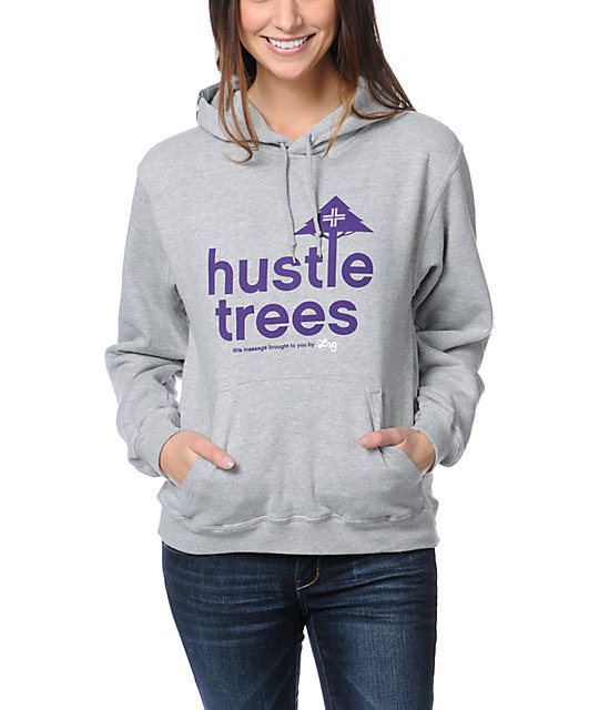 LRG Hustle Trees Heather Grey & Purple Pullover Hoodie