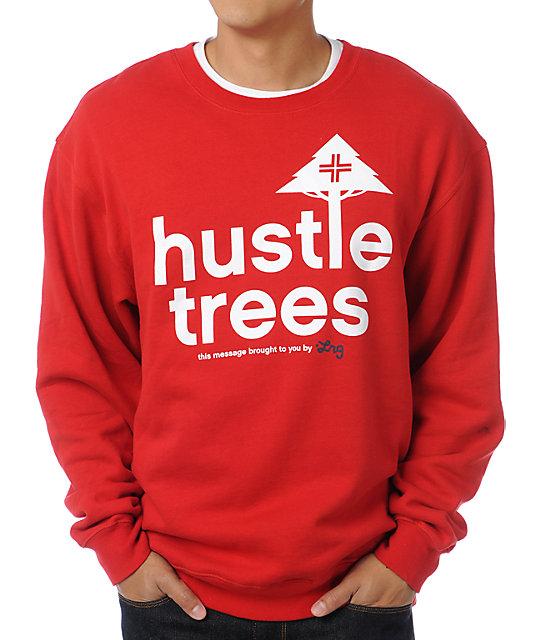 LRG Hustle Trees Red Crew Neck Sweatshirt at Zumiez : PDP