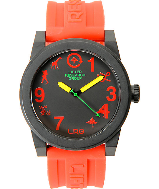 LRG Icon Black, Red & Rasta Analog Watch