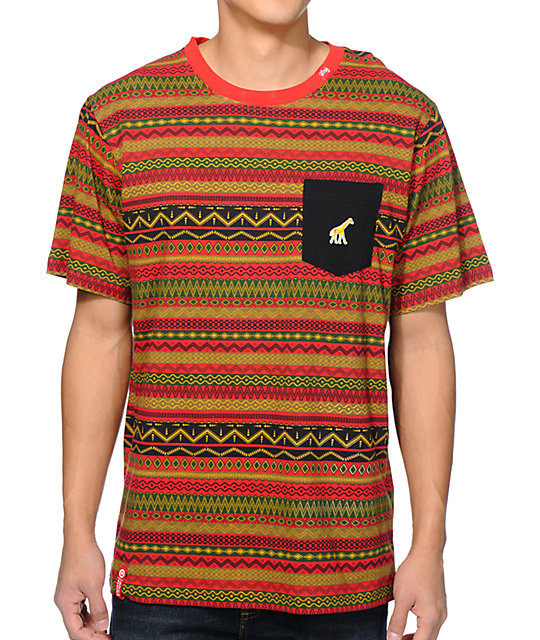 LRG Lion Rock Red Pocket T-Shirt