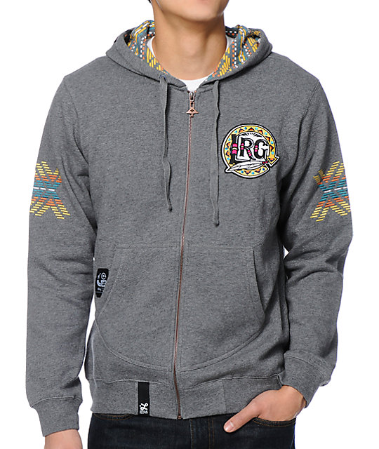 LRG Mali Charcoal Zip Up Hoodie