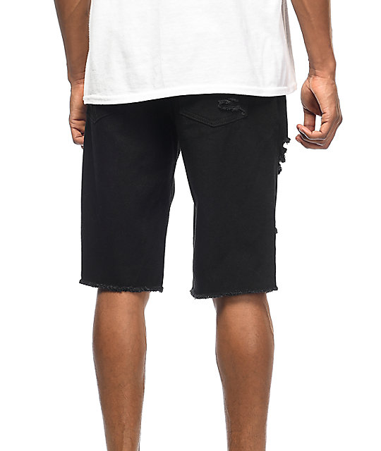 LRG On Deck Bull Destroyed Black Denim Shorts