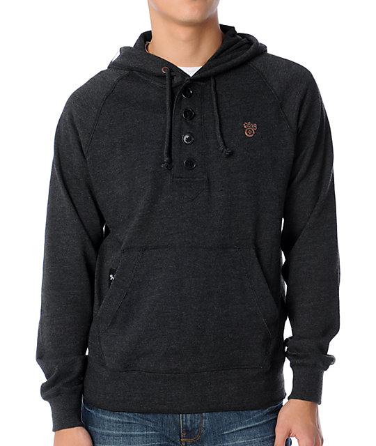 LRG Out Work Henley Charcoal Hoodie