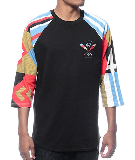 LRG Paddle Team Black Baseball T-Shirt