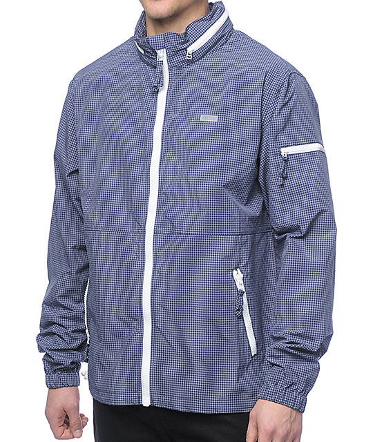 LRG Parallel Grid Navy Windbreaker Jacket at Zumiez : PDP