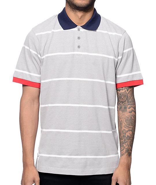 LRG RC Striped Ash Grey Polo Shirt