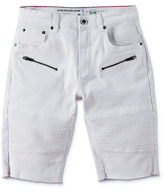 LRG Rally White Moto Shorts