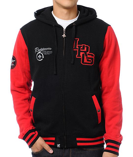 LRG Resolutionaries Black & Red Varsity Fleece Jacket   Zumiez