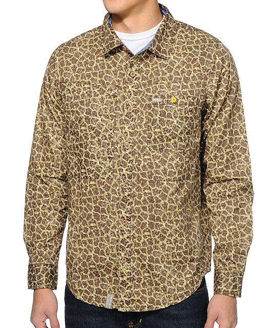 LRG Savage Safari Giraffe Button Up Long Sleeve Shirt