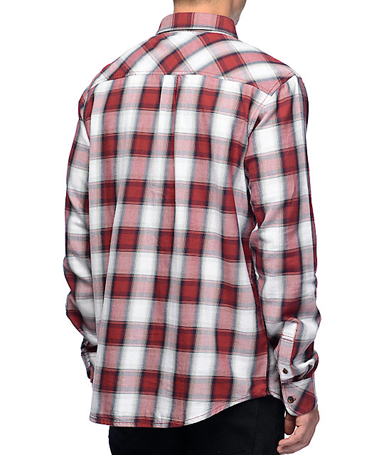 LRG Syndicate Poplin White & Red Long Sleeve Button Up Shirt